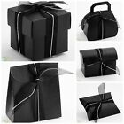 Pack 10 Luxury DIY Wedding Party Halloween Gothic Favour Gift Boxes BLACK SILK