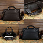 Mens High Quality Leather Pilot Business Briefcase Laptop Work Shoulder Bag Tote