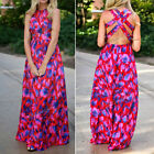 Womens Cocktail Party Bohomia Summer Beach Long Maxi Red Floral Sexy Dress