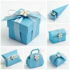 Pack 10  Luxury DIY Wedding Party Favour Gift Boxes Pale Light BLUE SILK
