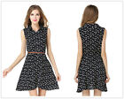 Hot Women's Black Cats Cotton Sleeveless Lapel Tunic Fit Shirt Mini Dress Tops