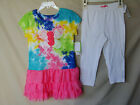 FLAPDOODLES 2 pc Stretch Short Sleeve Splatter Tie Dye Dress Set GIRL SIZES NWT