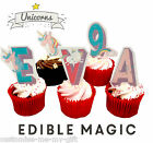 Unicorn Name & Number Edible Rice Paper Birthday Cake & Cupcake toppers | Party