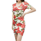 Women Crossover V Neck Floral Prints Sheath Dress