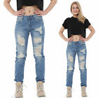 New Womens Light Blue Ripped Distressed Frayed Slim Faded Boyfriennd Jeans