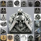 Men Stainless Steel Black Freemasonry Masonic Mason Skull Symbol Finger Ring