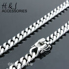 18 40MEN Stainless Steel 7x3mm Silver Tone Miami Cuban Curb Link Chain Necklace