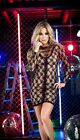 Long Sleeve Black Floral Lace Over Nude Mini Dress Espiral 4383