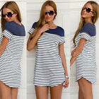 UK Women Ladies Stripe Long Sleeve Top Loose Blouse T-shirt Mini dress Plus Size