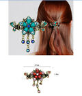 17style Vintage Korea Crystal Rhinestone Flower Hair Clip barrette claw hairpin