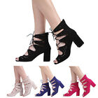 NEW WOMENS LADIES ANKLE BLOCK HEEL LACE UP GHILLIE PEEPTOE SANDAL SHOES SIZE 3-8