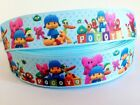 "POCOYO Kids TV Cartoon 1"" Grosgrain Ribbon Hair Bows Cake Card per 1m Metre"