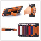 Flexible Hand Holder Stand Leather Card Slot Wallet Case For iPhone & Samsung