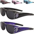NEW BLACK SUNGLASSES POLARIZED WOMENS LADIES FIT OVER LARGE GLASSES WRAP DRIVING