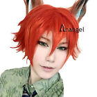 Zootopia Nick Wilde Wig Cosplay Orange Short Layered Straight Synthetic Hair