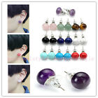 2x Womens Gemstone Natural Abacus Bead Stainless Steel Ear Stud Earrings Fashion