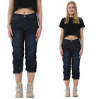 New Womens Dark Blue Stretch Slim Long Denim Shorts Cropped 3/4 Capri Jeans