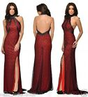 BLACK RED TURTLE NECK BACKLESS SLIT FISHTAIL MAXI PROM EVENING PARTY DRESS 8-16