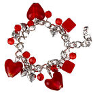 Sale Fashion Women Lady Jwewelry Heart-Shaped Glass Bead Bangle Charm Bracelet