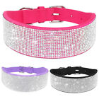 Soft Bling Rhinestone Pet Dog Collars Seude Leather Cute Diamante Crystal Style