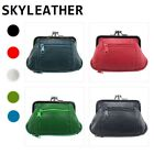 Skyler GENUINE LEATHER WOMEN&#039;S COIN PURSE COIN CHANGE HOLDER DOUBLE FRAME CLASP <br/> Geniune Sheep Leather Mini Purse Wallet