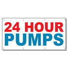 24 Hours Pumps Red Blue Auto Car Repair Shop Vinyl Banner Sign With Grommets