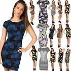 Women Ladies Short Cap Sleeve Printed Floral Aztec Tunic Bodycon Mini Dress 8-22