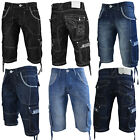 Crosshatch Kanaster Mens Denim Cargo Shorts New Multipocket Knee Length Pants