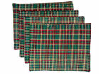 Green and Gold Check Plaid Cotton Set of 6 Table Place Mats