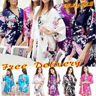 Hot Bridesmaid Peacock Pyjamas Kimono Robe Wedding Women Satin Silk Sleepwear