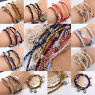 Faceted Crystal Glass Beads Dangle Charms Stretchy Cuff Bracelet With Heart Sun