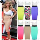 Womens Celebrity Strappy Ladies Contrast Panel Midi Skirt Pencil Bodycon Dress