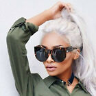 Round Cat Eye Oversized Sunglasses Thick Vintage Style Frame Women Fashion