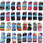 6 or 12 Pairs Designer Women's Socks Cotton Rich Lycra Everyday Socks UK 4-7