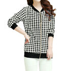 Women Long Sleeves Zipper Front Houndstooth Jacket
