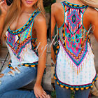 2016 Summer Sleeveless Woman Printed Vest Tee Shirt Boho Blouse Casual Tank Tops