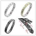Men's Steel 4in1 Bio Magnetic Energy Check Chain Therapy Bracelet Wristband 8.5""