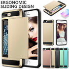 Hard Hybrid Armor Case Cover With Slide Card Slot Holder For iPhone & Samsung UK