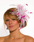 White Fascinator hat with fuschia Flo pink  highlight/choose any colour
