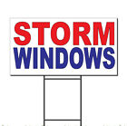 Storm Windows Red Blue Corrugated Plastic Yard Sign /Free Stakes