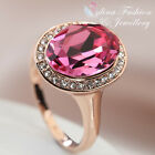 18k Rose Gold Plated Made With Swarovski Element Oval Cut Stunning Pink Ring