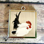 2x ROOSTER HEN White Rabbit Glass Pendant Necklace