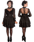 Gothic Victorian Steampunk Spin Doctor Black Layered Dress
