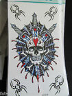 MENS BOYS LARGE BLACK ARTY CELTIC SKULL SPIDER TEMPORARY TATTOOS 20x10cm UK SELL
