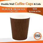 Double Wall Disposable Coffee Cups and Lids 20,30,50 and 100 Pack Wave Brown