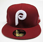Philadelphia Phillies Burgundy & White Fitted Cap Hat Available Sizes Vintage