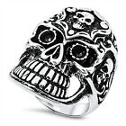 Men's Stainless Steel Cutout Teeth Chopper Skull Biker Band Ring US Size 10-15