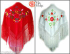 New Small Spanish flamenco Dance Shawl With Fringe Red Multi & White Multi