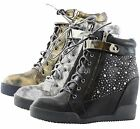 Women Distressed Leatherette Rhinestone High Top Flat Hidden Wedge Sneaker