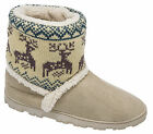 Womens Ladies Boot Slippers / Beige Warm Lined Slip On Divaz Sizes 3 to 8